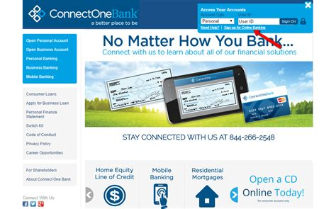 connection bank connectone bank banking login cc bank