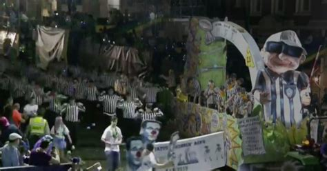 orleans takes shot  nfl  float hundreds  blind refs  mardi gras parade video