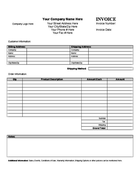 General Invoice Template Sle Free Download General Invoice Template