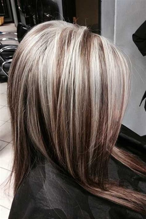 platinum blonde highlight with dark brown low lights highlight dark hair long hairstyles 2015 long haircuts