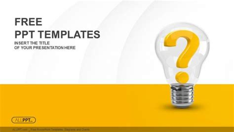 question powerpoint template light bulb with question as idea and solution symbol