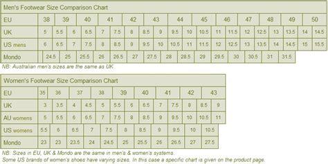 shoe size chart in australia footwear size guide