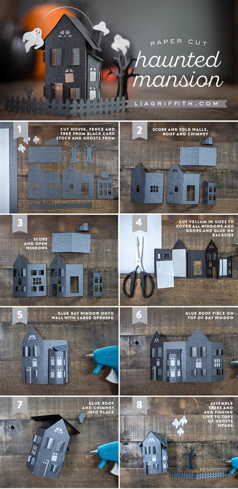 Haunted Mansion Papercraft - paper craft haunted house dioramas mansion and cuttings