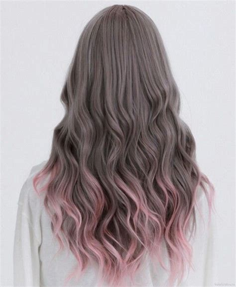light tips muted brown with pink tips hair color