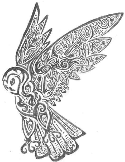 tribal owl tattoo image detail for tribal owl colouring pages stained