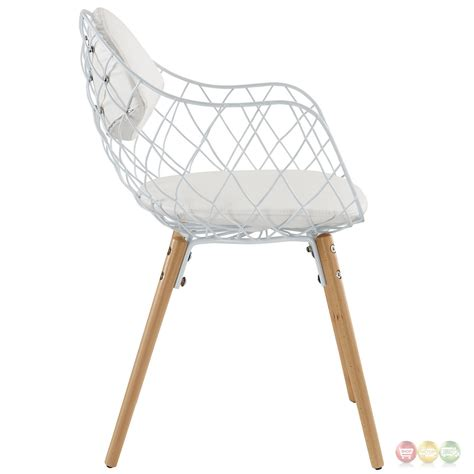 Set Of 4 Basket Modern Open Wire Weaved Dining Chair Set White Dining Chairs Set Of 4