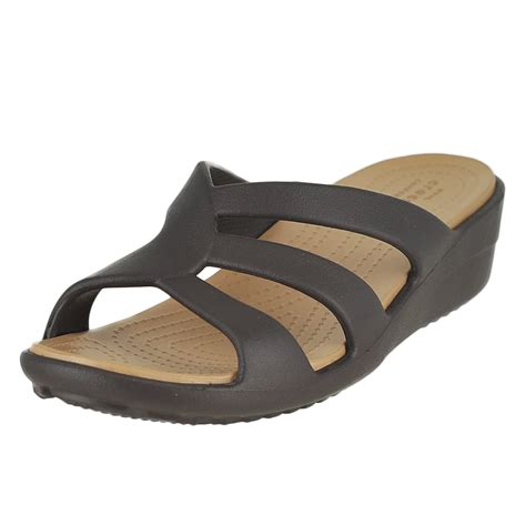 Wedges On02 crocs sanrah strappy wedge espresso womens slide size 7m