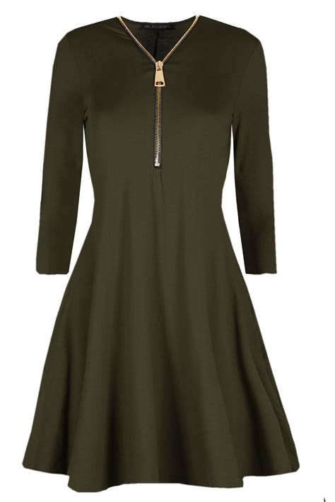 long sleeve swing dress uk womens ladies long sleeve golden front zip flare mini