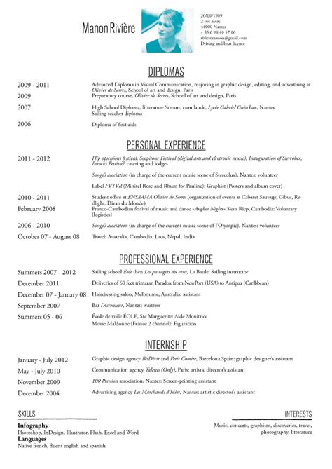 Visual Resume Examples by English Cv Manonriviere