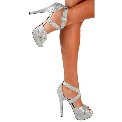 high heels in silver shoekandi strappy glitter stiletto platform high heel