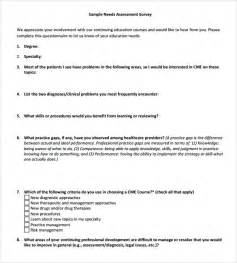 Needs Assessment Survey Template by Sle Needs Assessment Survey Template 8 Free