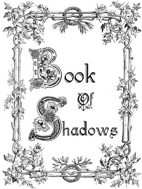 book pages to print title page book of shadows design plants