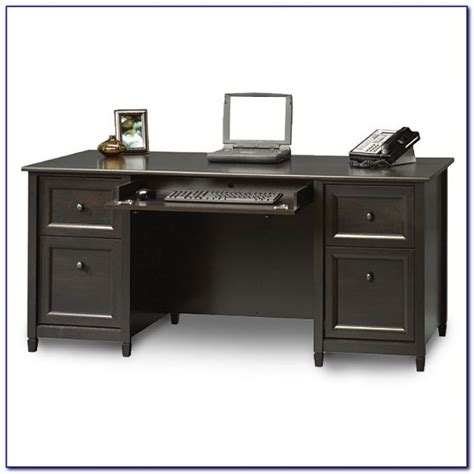 sauder edge water executive desk chalked chestnut desk