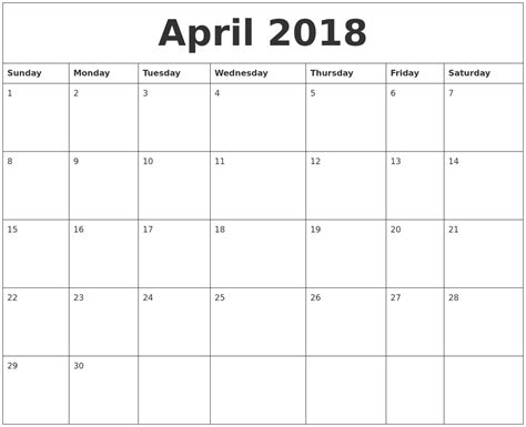 2018 Monthly Calendar Printable April 2018 Free Printable Monthly Calendar