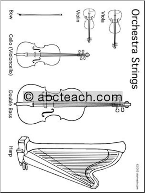 symphony instruments coloring pages coloring page orchestra strings abcteach