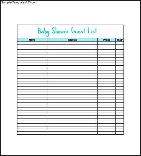 baby shower gift list template printable baby shower gift list template sle