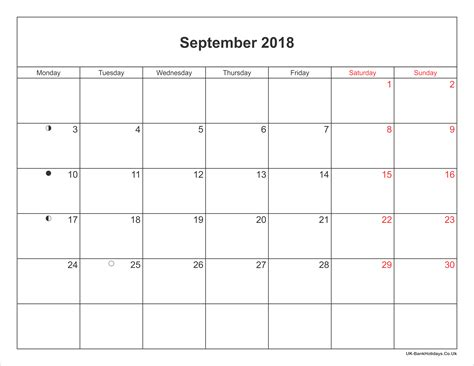 printable calendar 2018 september september 2018 calendar printable with bank holidays uk