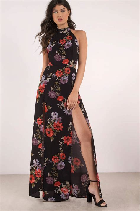 Maxi Flowery Dress black multi dress floral print dress high slit