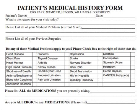 15 Medical History Forms Sle Templates New Patient Health History Form Template