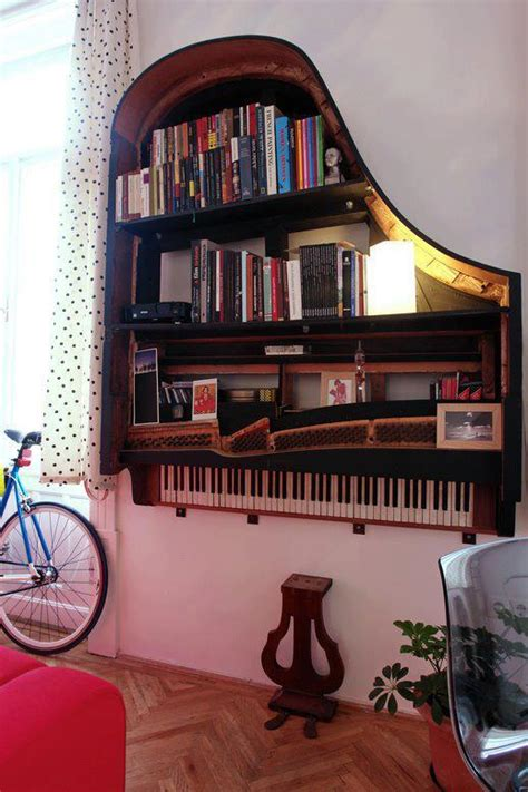 hanging an piano as a bookshelf craziest gadgets