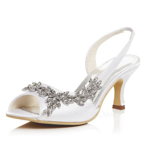 shoes in the house women s satin spool heel peep toe sandals with rhinestone