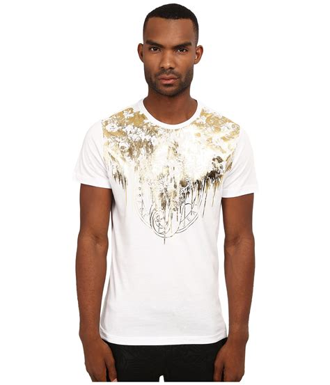 T Shirt 46 Gold versace sleeve t shirt with gold foiled detail