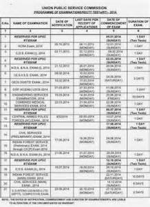 Calendar 2018 Upsc Upsc Calendar Of Examinations 2017