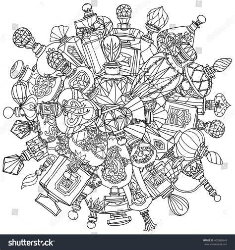 vintage coloring book for adults mandala vintage perfumes mandala stock