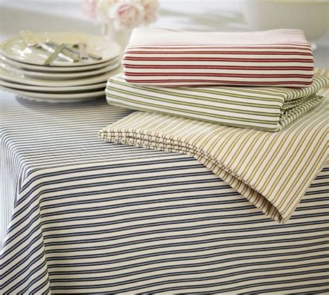 Striped Tablecloth thatcher ticking stripe tablecloth pottery barn
