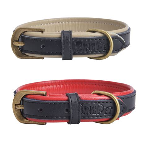 soft collar for dogs designer new genuine leather soft padded small collar pet puppy cat perro collars