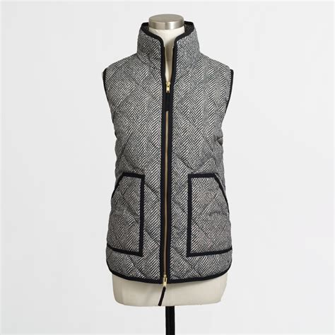 Quilted Puffer Vest j crew factory quilted puffer vest in herringbone in gray