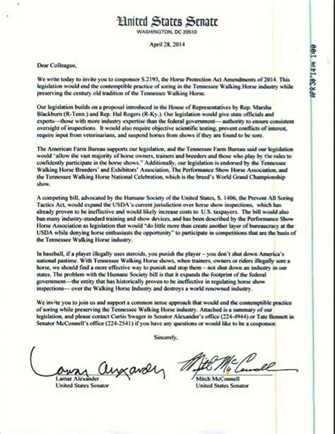 Sponsorship Letter For Riders Sore Big Senators Lamar And Mitch Mcconnell Seek C0 Sponsors For Bill To Keep A