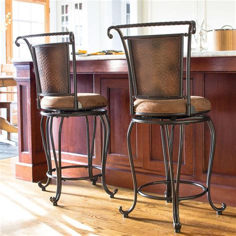 Padded Metal Bar Stools by Rustic Metal Bar Stool Padded Seat Hammered Copper High