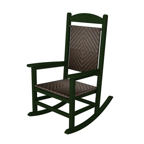 Green Plastic Patio Chairs Shop Polywood Presidential Green Cahaba Plastic Patio Rocking Chair At Lowes