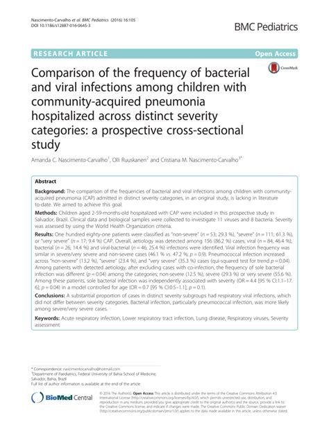 cross sectional study pdf comparison of the frequency of bacterial and viral