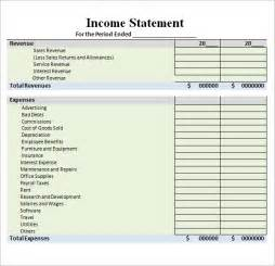 statement of income and expenses template sle income statement template 9 free documents in