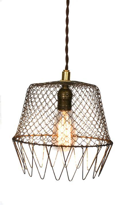 Wire Cage Pendant Light Vintage Collapsible Wire Cage Egg Basket Pendantjunkyard Lighting Junkyard Lighting