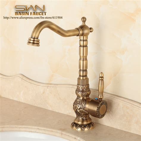Vintage Kitchen Sink Faucets Aliexpress Buy Antique Brass Bathroom Faucet Lavatory Vessel Sink Basin Kitchen Faucets