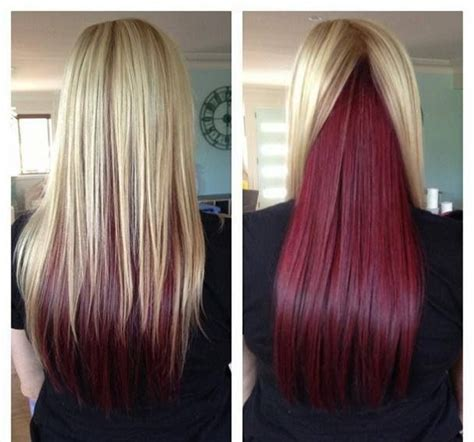 pictures of hair underneath blonde hair with red underneath hair colors ideas
