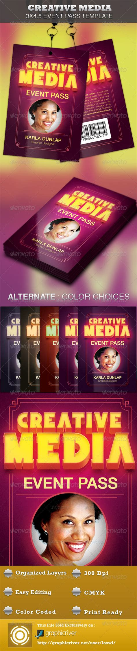 Creative Media Event Pass Template Graphicriver Media Pass Template Photoshop