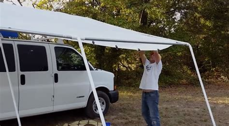 diy rv awning the answer to a truly portable rv deck or rv patio