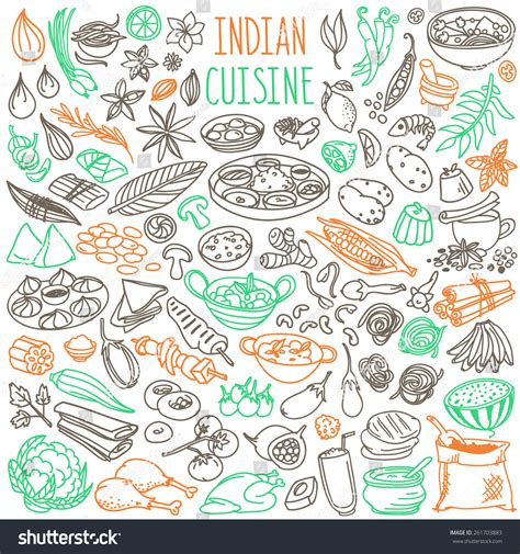 doodle of india set doodles simple stock vector 261703883