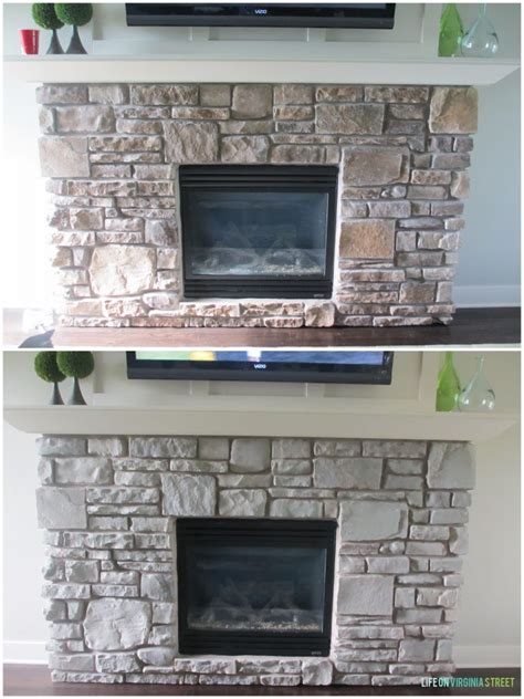 Step By Step Tutorial: Graywash your Stone Fireplace