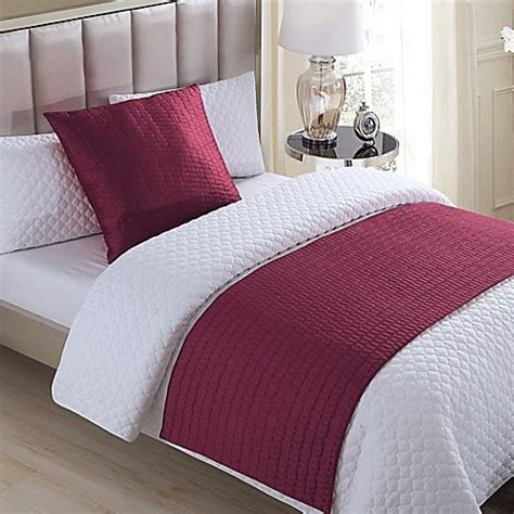 bed runners buy vcny serna quilted bed runner in red from bed bath