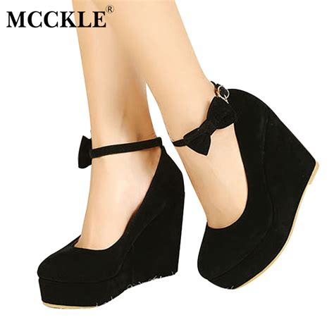 High Heels M2m 15 mcckle high heels shoes fashion buckle wedges 2017 platform buckle bowtie pumps for