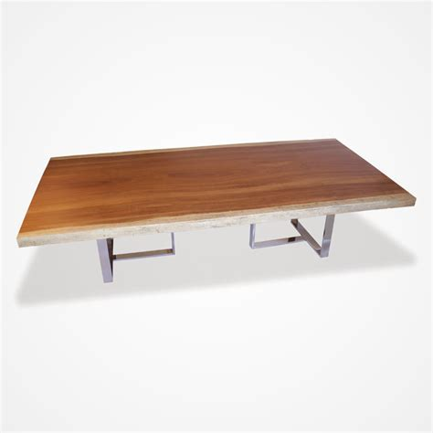 Wood And Stainless Steel Dining Table Live Edge Wood Slab Stainless Steel Dining Table Rotsen Furniture