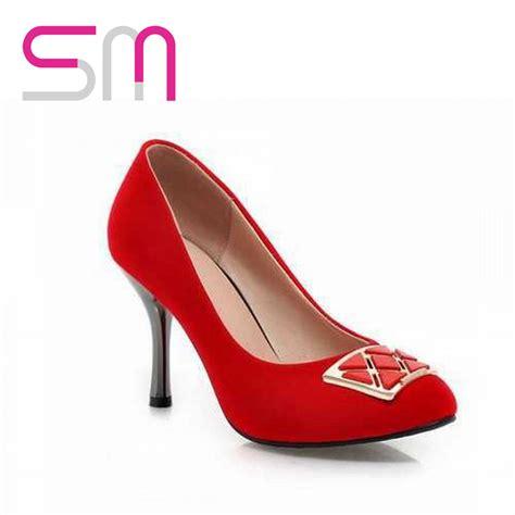 Charm Heels big size32 47 metal charm hoof heel pumps 2015 brand