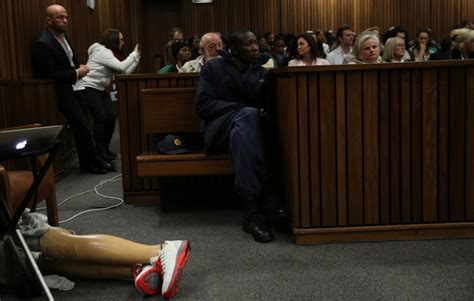 pistorius walks on stumps for judge sentencing on july 6