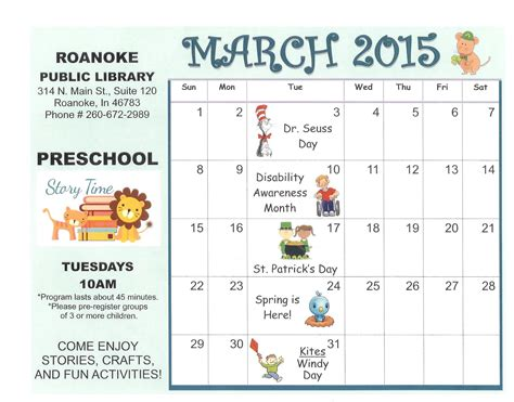 Blank March Calendar For Kindergarten march 2015 coloring calendar page search results
