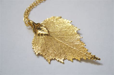 how to make real leaf jewelry real birch leaf necklace gold with 18 quot gold plated curb chain